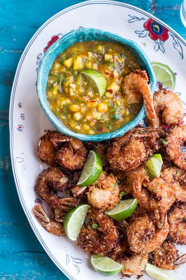 Coconut Lime Fried Shrimp With Fiery Mango Peach Jalapeno Sauce Halfbakedharvest Com
