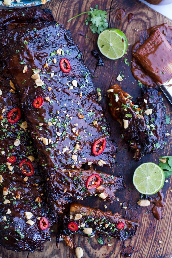 Extra Sticky Thai BBQ Ribs w-Peanut BBQ Sauce + Sweet Thai Ginger Slaw | halfbakedharvest.com