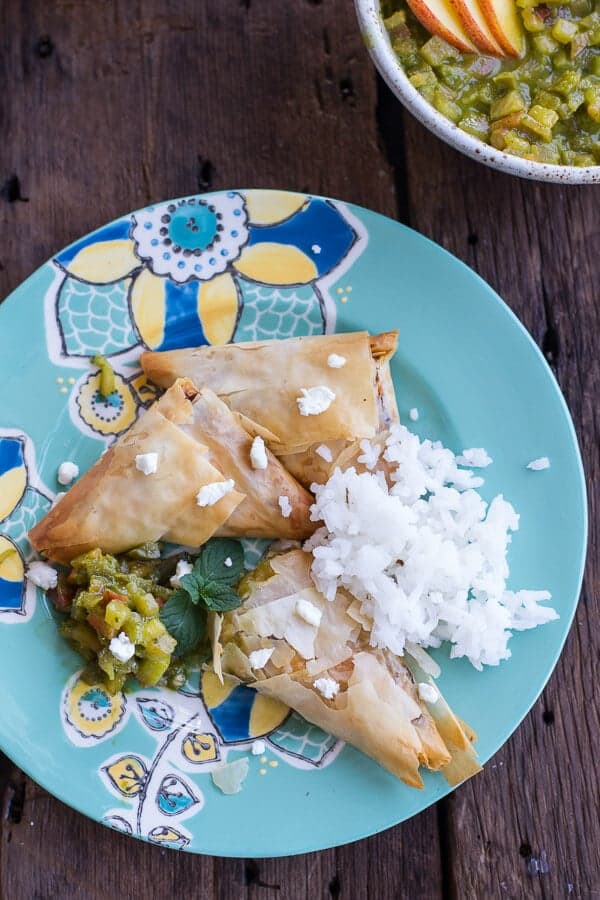 Garden Veggie and Goat Cheese Samosas with Sweet Peach and Basil Chutney | halfbakedharvest.com