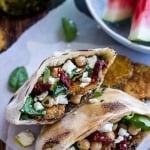Greek Olive Pesto and Fried Zucchini Grilled Pitas w/Marinated Feta + Garbanzo Beans.