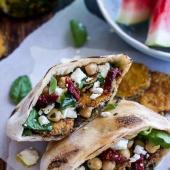 Greek Olive Pesto and Fried Zucchini Grilled Pitas w-Marinated Feta + Garbanzo Beans.-11