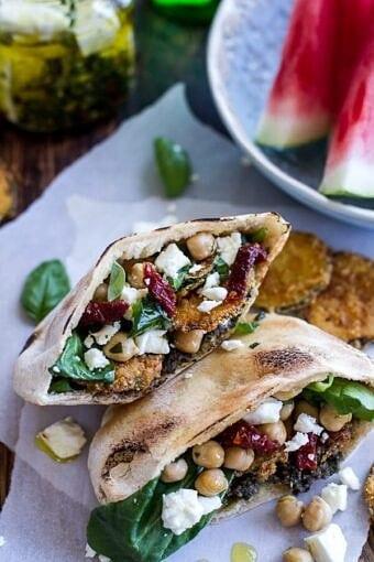 Greek Olive Pesto and Fried Zucchini Grilled Pitas w-Marinated Feta + Garbanzo Beans | halfbakedharvest.com @hbharvest