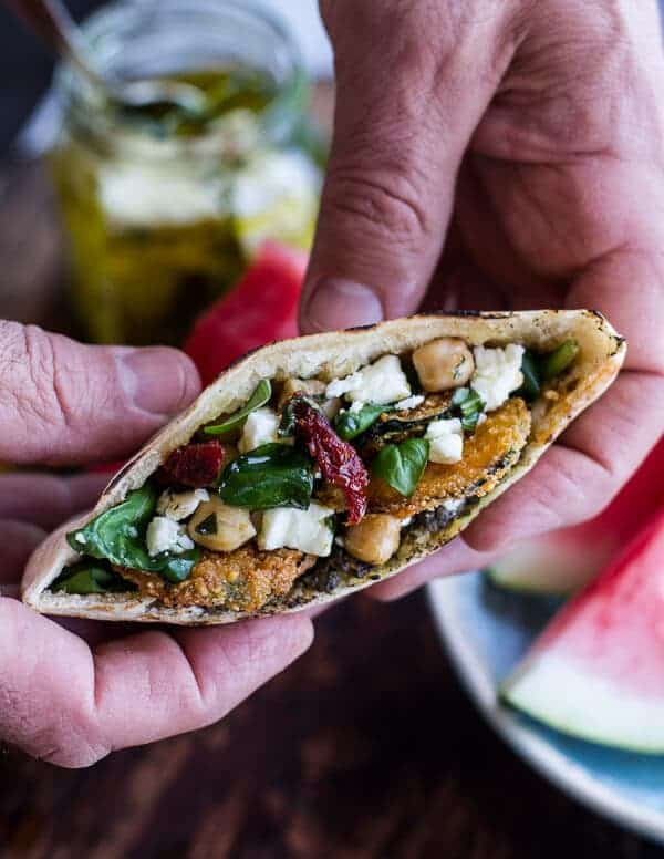 Greek Olive Pesto and Fried Zucchini Grilled Pitas w/Marinated Feta + Garbanzo Beans | halfbakedharvest.com