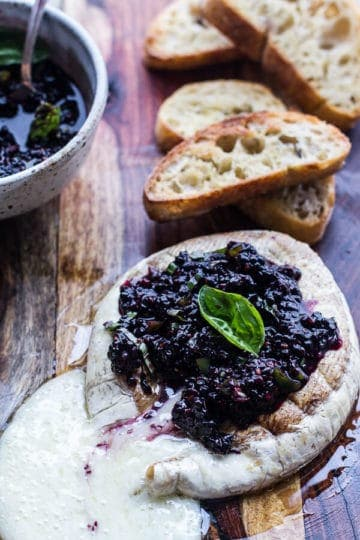 Grilled Brie with Blackberry Basil Smash Salsa.
