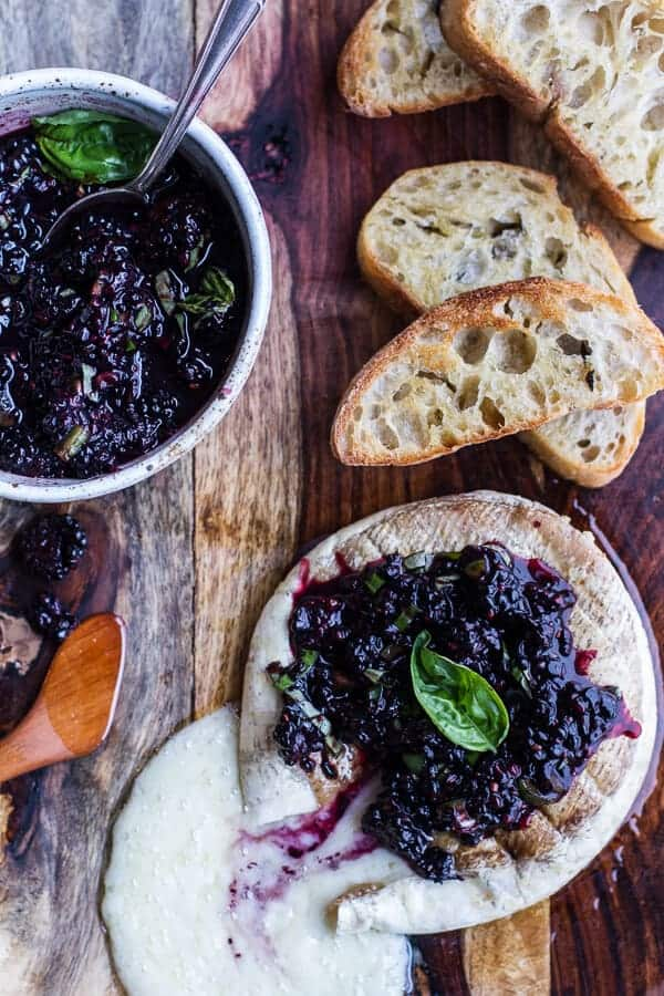 Grilled Brie with Blackberry Basil Smash Salsa + Charred Bread | halfbakedharvest.com
