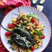 Grilled Chiles Rellenos with Chipotle Peach Mojo Shrimp.-1