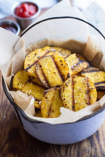 Easy Grilled Parmesan Polenta Chips.