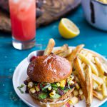 Lobster Burgers w-Browned Butter Lemon Aioli + Basil Corn Salsa, Bacon 'n' Avocado.-1