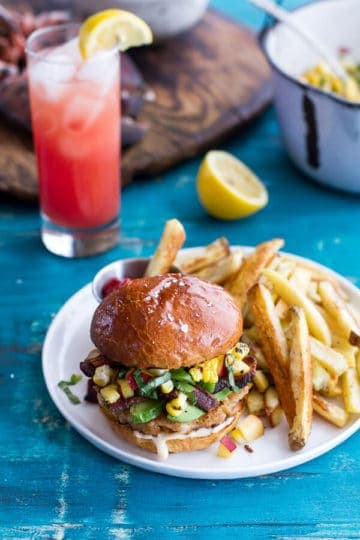 Lobster Burgers w/Browned Butter Lemon Aioli + Basil Corn Salsa, Bacon 'n' Avocado.
