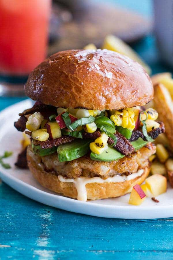 Lobster Burgers w/Browned Butter Lemon Aioli + Basil Corn Salsa, Bacon 'n' Avocado | halfbakedharvest.com