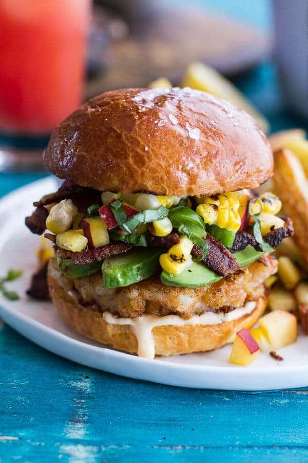 Lobster Burgers w/Browned Butter Lemon Aioli + Basil Corn Salsa, Bacon 'n' Avocado   halfbakedharvest.com