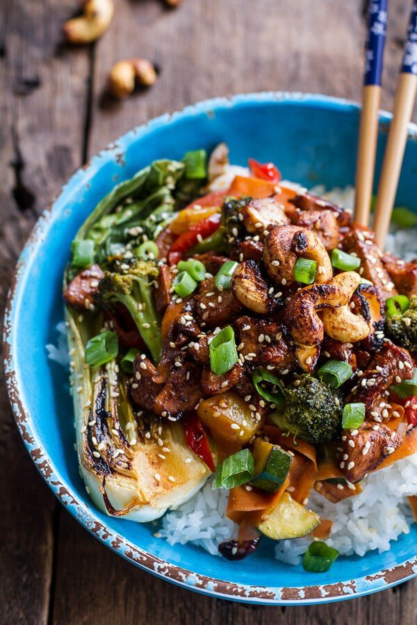 Quick Honey Ginger Pineapple and Summer Veggie Chicken Stir Fry with Caramelized Cashews | halfbakedharvest.com