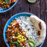 Simple Summertime Basil Chicken Curry with Coconut Ginger-Lime Rice.