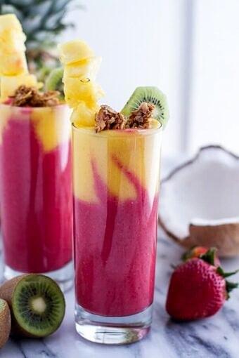 Tropical Fruit Breakfast Smoothie | halfbakedharvest.com @hbharvest