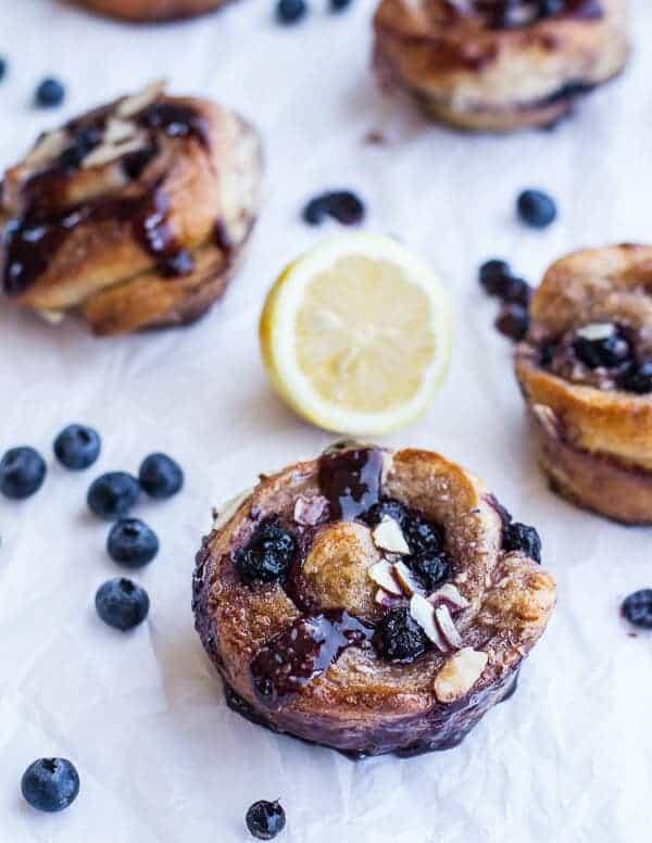 Vanilla Bean Blueberry Lemon + Cream Cheese Swirl Sticky Buns   halfbakedharvest.com