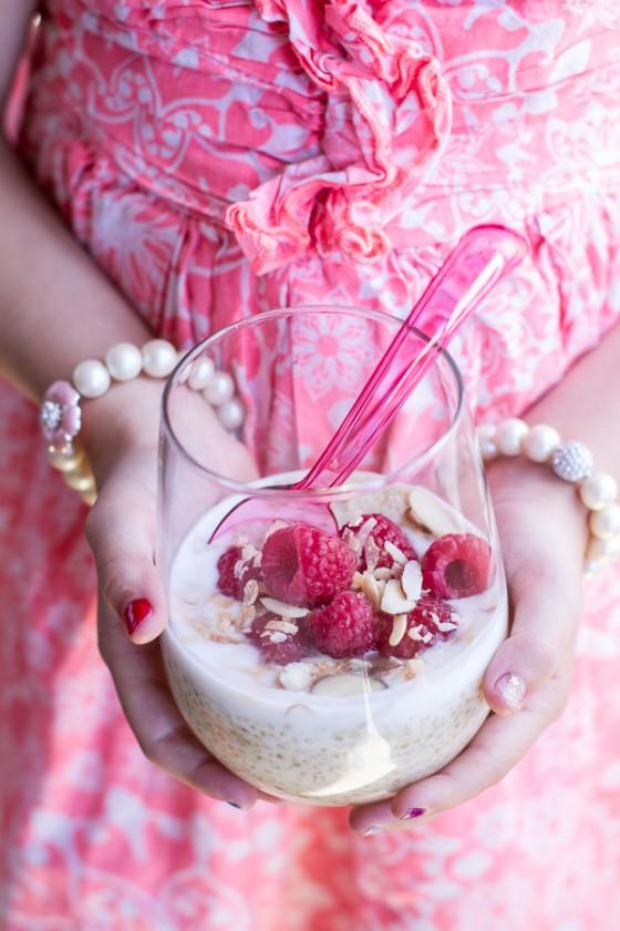Vanilla Bean Coconut Quinoa Pudding with Honey Drizzled Raspberries.-1