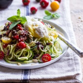 15-Minute Zucchini Pasta w- Poached eggs and Quick Heirloom Cherry Tomato Basil Sauce.-1