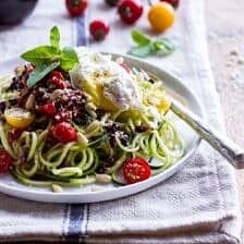 15-Minute Zucchini Pasta w/ Poached eggs and Quick Heirloom Cherry Tomato Basil Sauce.