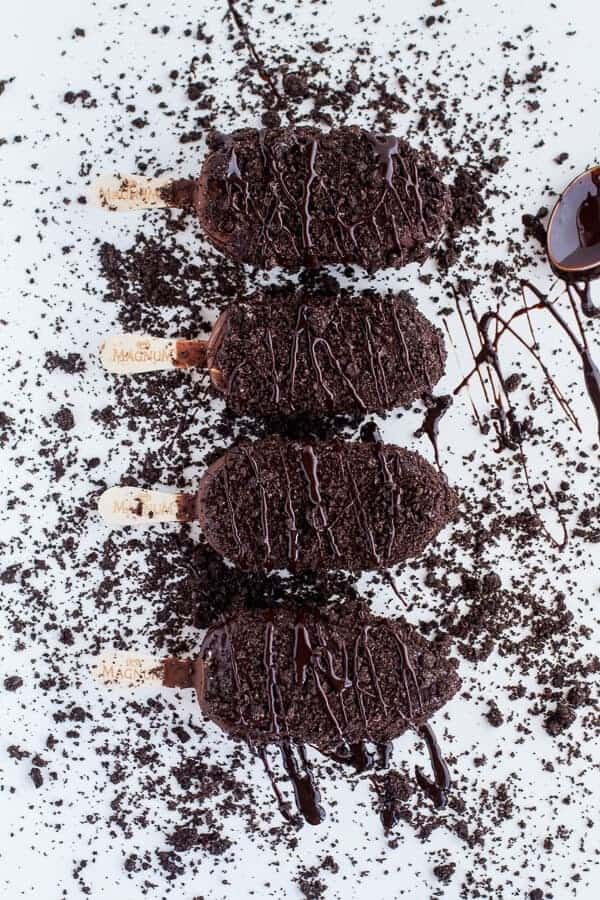 5-Ingredient Caramel Double Chocolate Birthday Ice Cream Cake Bars on a Stick | halfbakedharvest.com
