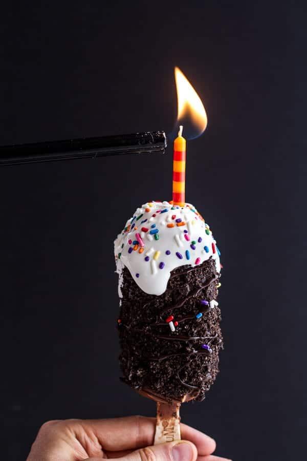 5-Ingredient Caramel Double Chocolate Birthday Ice Cream Cake Bars on a Stick | halfbakedharvest.com