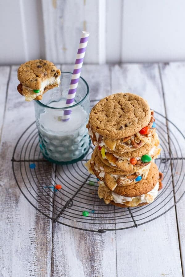 The Munchies Sweet Corn Ice Cream Sandwiches w/Peanut Butter Chip Cookies | halfbakedharvest.com
