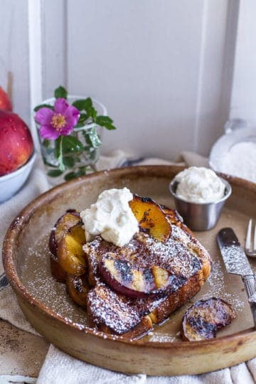 Brown Sugar Peaches and Cream Grilled French Toast.