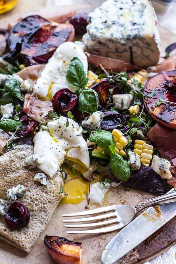 Caramelized Peach + Cherry, Prosciutto and Gorgonzola Salad w/Buckwheat Crêpes | halfbakedharvest.com