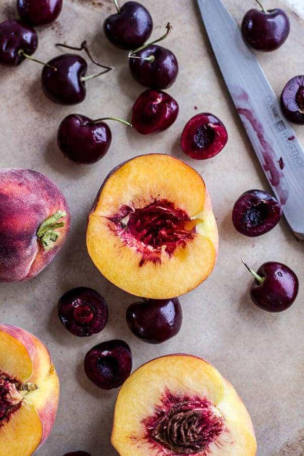 Caramelized Peach + Cherry, Prosciutto and Gorgonzola Salad w/Buckwheat Crêpes | halfbakedharvest.com