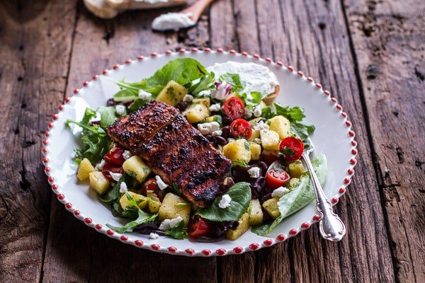 Caribbean Jerk Salmon with Curried Pineapple and Goat Cheese Salad | halfbakedharvest.com for @President Cheese #artofcheese