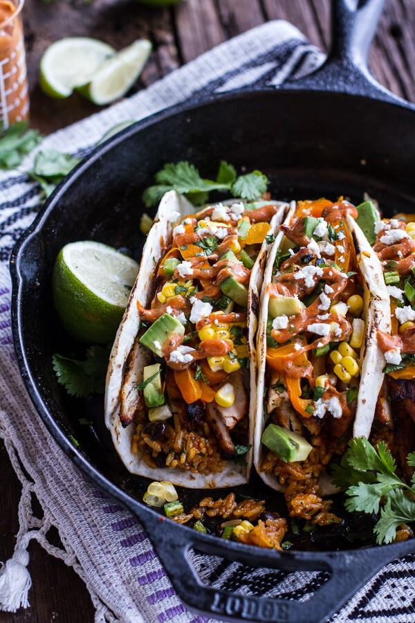 Easy Chicken Fajitas with Cheesy Enchilada Rice + Spicy Tex-Mex Special Sauce | halfbakedharvest.com