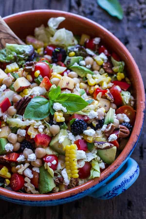 Easy Summer Herb and Chickpea Chopped Salad with Goat Cheese | halfbakedharvest.com