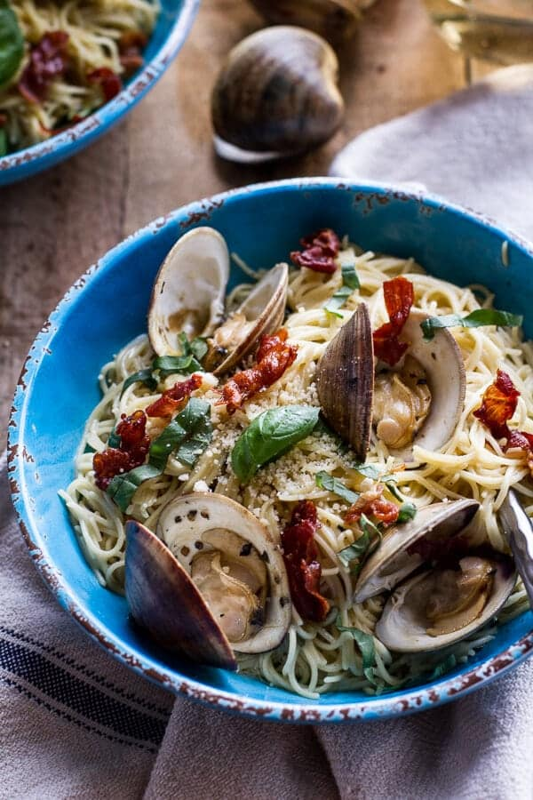Fresh Clam Pasta with Creamy White Basil Sauce + Crispy Prosciutto | halfbakedharvest.com