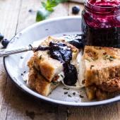 Mozzarella in Carrozza (Fried Mozzarella Sandwich) w-Blueberry Balsamic Jam.-1