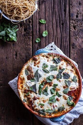 Quinoa Crusted Baked Three-Cheese Zucchini and Eggplant Parmesan | halfbakedharvest.com @hbharvest