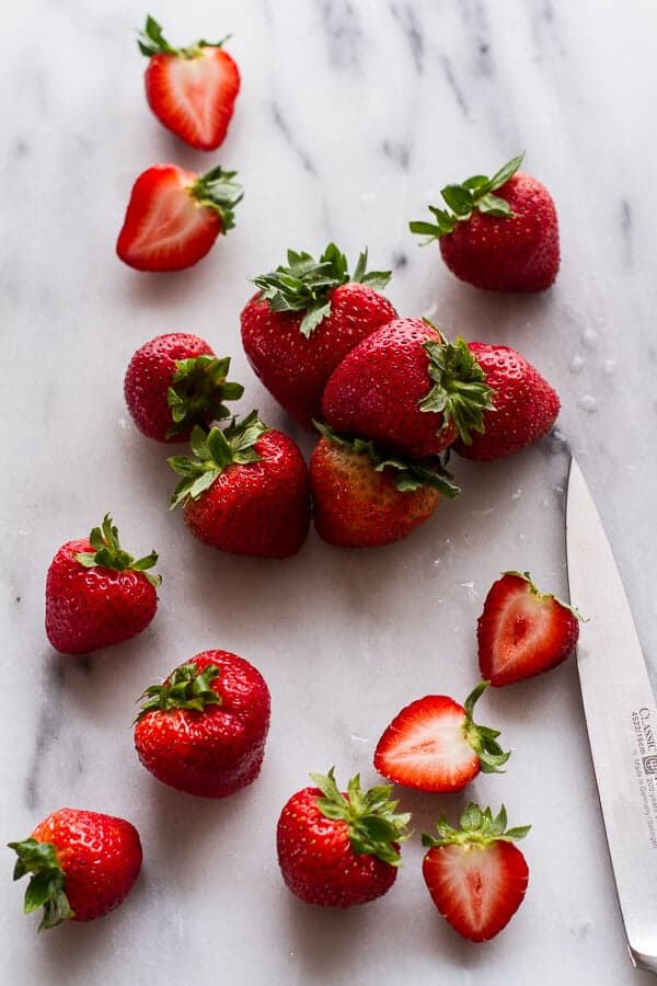 Sweet Balsamic Strawberries w-Whipped Ricotta Cream and Maple Glazed Seeded Nuts | halfbakedharvest.com