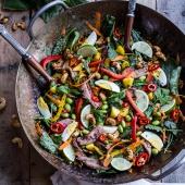 Thai Steak Salad w-Sweet + Spicy Tahini Dressing and Sesame Chili-Lime Cashews.-1