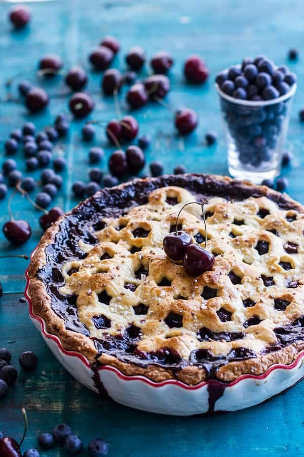 Vanilla Bourbon Cherry-Blueberry Pie.