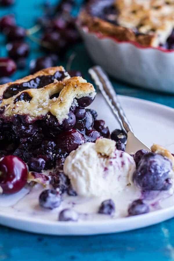 Vanilla Bourbon Cherry-Blueberry Pie | halfbakedharvest.com