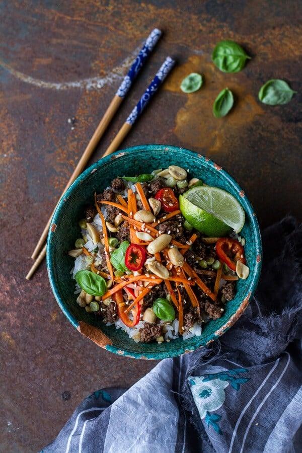 20 Minute Thai Basil Beef and Lemongrass Rice Bowls | halfbakedharvest ...
