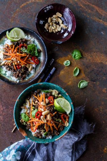 20 Minute Thai Basil Beef and Lemongrass Rice Bowls + Video