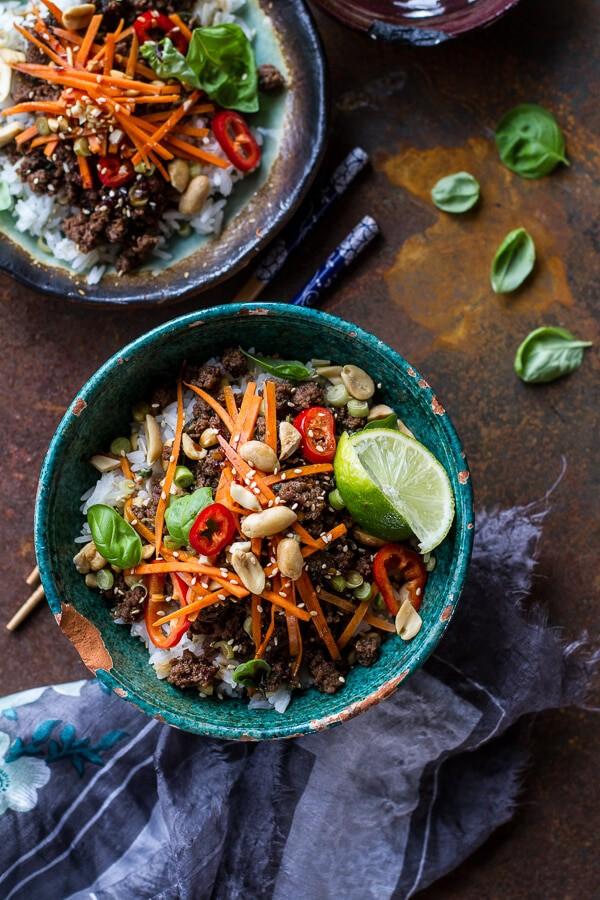 20 Minute Thai Basil Beef and Lemongrass Rice Bowls | halfbakedharvest.com @hbharvest