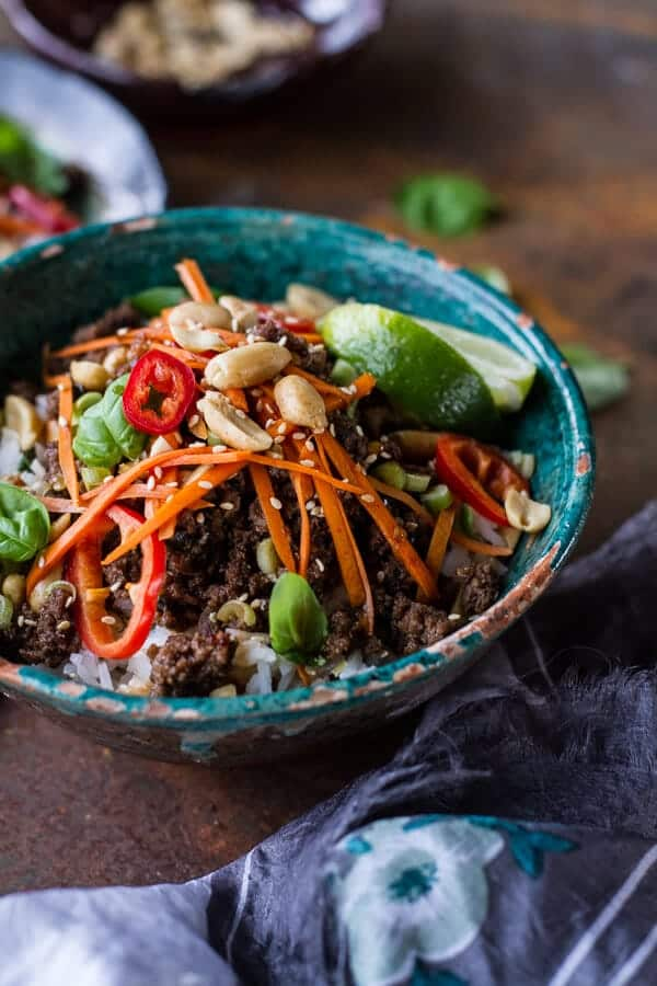 20 Minute Thai Basil Beef and Lemongrass Rice Bowls | halfbakedharvest.com @hbharvest