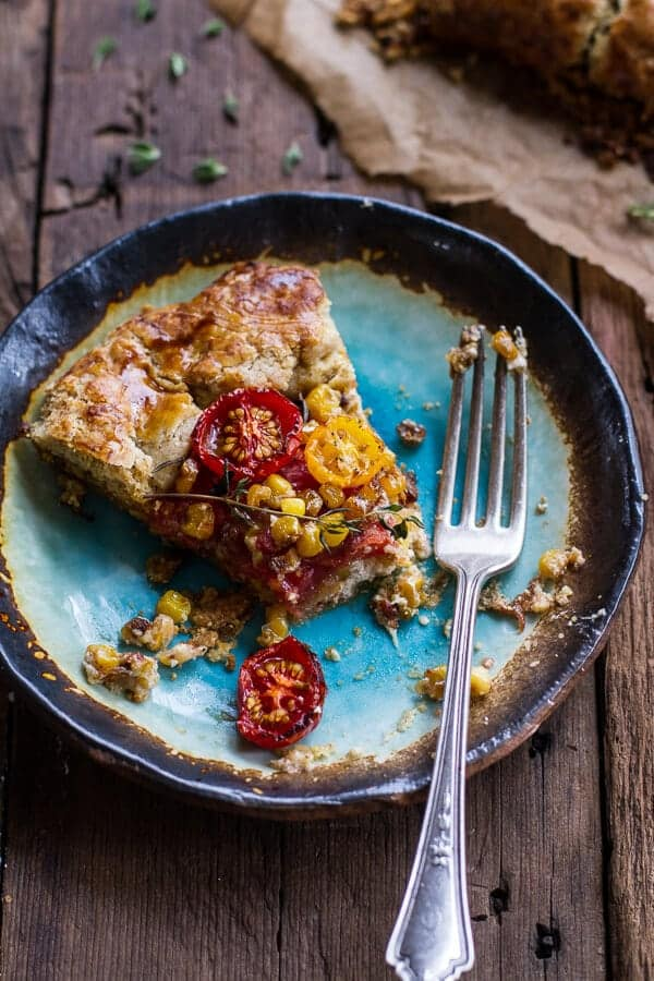 Caramelized Corn and Heirloom Tomato Galette w-Herbed Roasted Garlic Goat Cheese | halfbakedharvest.com @hbharvest