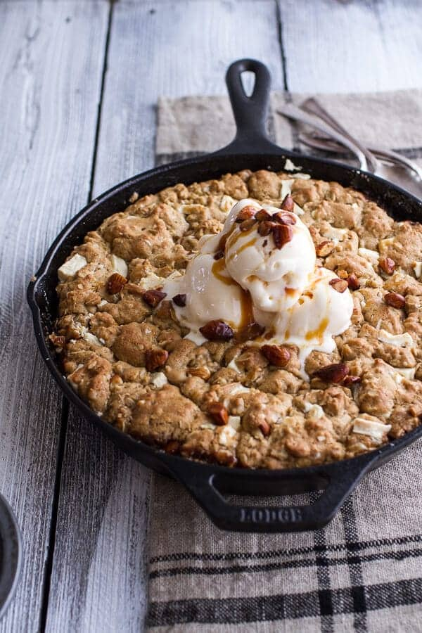 Caramelized Peach + White Chocolate Oatmeal Skillet Cookie Pie | halfbakedharvest.com @hbharvest