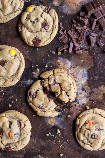 Double Trouble Chocolate Chunk Peanut Butter Honey Cookies.