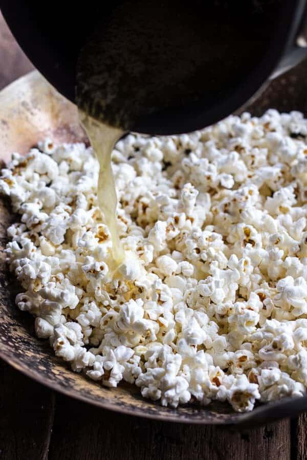 Easiest Bourbon Peach Dump with Buttered Popcorn | halfbakedharvest.com @hbharvest