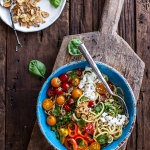 Farmers Market Sesame Miso Noodle Bowls with Garlic Chips.