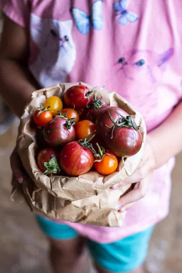 Garlic and Herb Roasted Cherry Tomato Carbonara w-Crispy Prosciutto + Burrata | halfbakedharvest.com @hbharvest