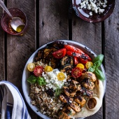 Greek Chicken Souvlaki and Rice Pilaf Plates w-Marinated Veggies + Feta Tzatziki-1