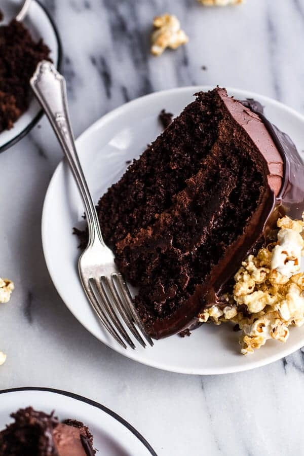 Healthier Chocolate Lovers Sweet Corn and Hazelnut Crunch Chocolate Cake w-Ganache | halfbakedharvest.com @hbharvest
